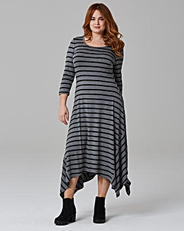 Black/Grey Stripe Asymmetric Dress