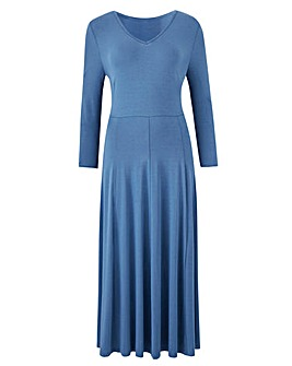 V-Neck Jersey Midi Dress - 45in