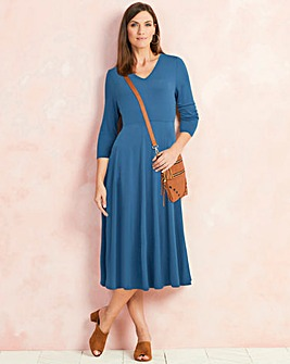 Denim Blue V-Neck Midi Dress - 45in