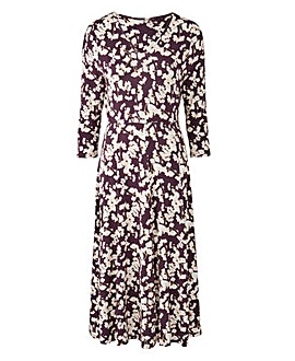 Pansy Print V-Neck Jersey Midi Dress