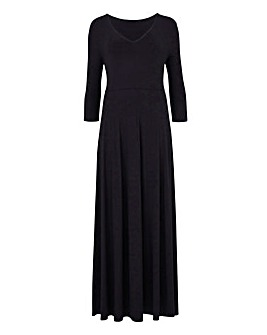 Black V-Neck Jersey Maxi Dress - L 52
