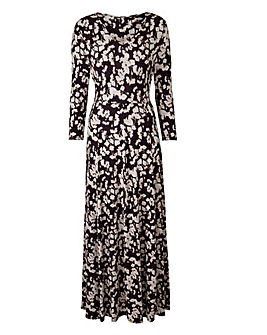 Pansy Print V-Neck Jersey Maxi Dress