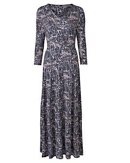 Pink Print V-Neck Maxi Dress - L 52