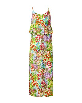 White Floral Layer Maxi Dress