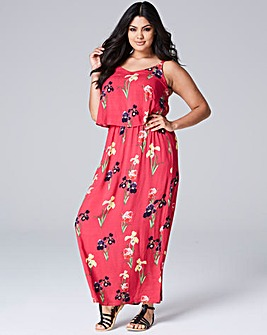 Pink Floral Layer Maxi Dress