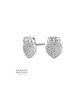 Simply Silver owl stud earring