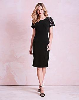Black Lace Sleeve Shift Dress