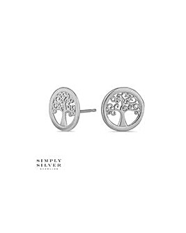 Simply Silver tree of life stud earring