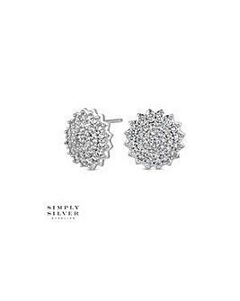 Simply Silver pave cluster earring