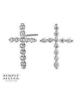 Simply Silver cross earring