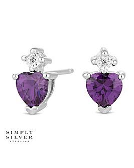 Simply Silver heart stud earring