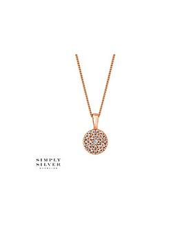 Simply Silver pave disc necklace