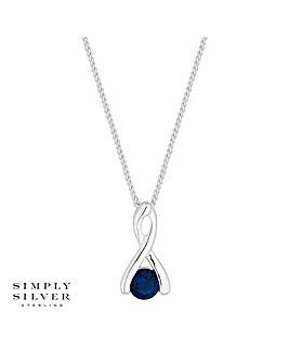 Simply Silver twist drop necklace