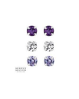 Simply Silver tonal purple stud set