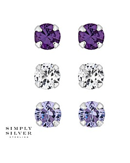 Simply Silver tonal purple stud set