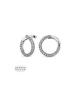 Simply Silver pave circle earring