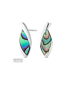 Simply Silver abalone stud earring