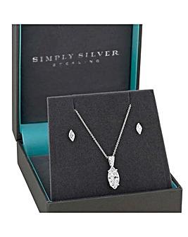 Simply Silver navette jewellery set