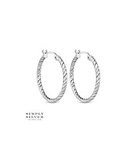 Simply Silver rope twist hoop earring