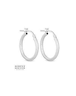 Simply Silver diamond cut hoop earring