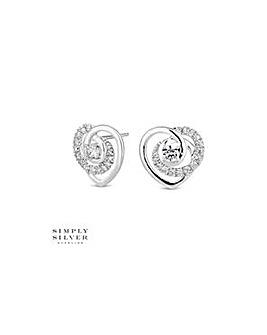 Simply Silver heart twist earring