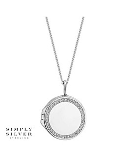 Simply Silver pave locket necklace