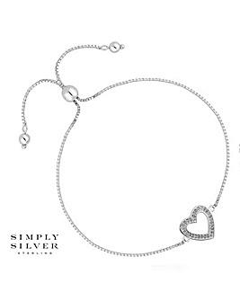 Simply Silver pave heart toggle bracelet