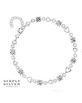 Simply Silver heart link bracelet
