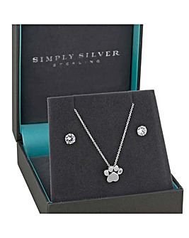Simply Silver paw print jewellery set