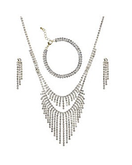 Mood diamante necklace and earring set