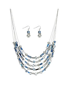 Mood beaded necklace and earring set