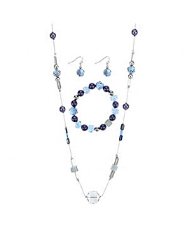 Mood Blue beaded necklace jewellery set