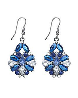 Mood Metallic blue stone drop earring