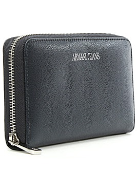 Armani Jeans Navy Leather Zip Wallet