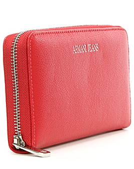 Armani Jeans Red Leather Zip Wallet