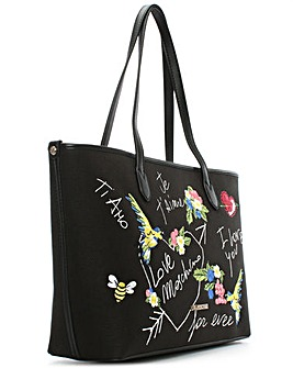 Love Moschino Black Printed Canvas  Bag