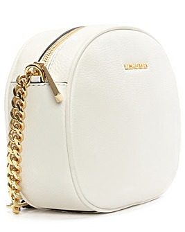 Michael Kors White Leather Messenger Bag