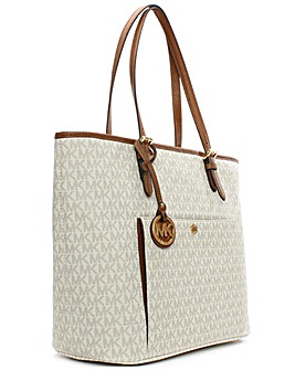 Michael Kors White Coated Canvas Tote