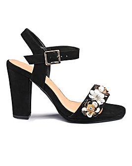 Sole Diva Flower Trim Heels E Fit