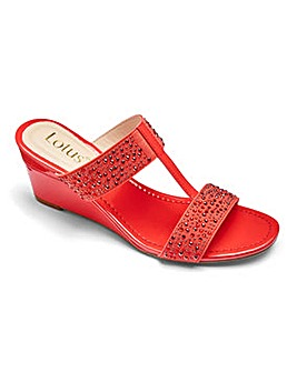 Lotus Wedge Mule Sandals EEE Fit