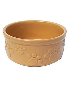 """Beige Embossed Paw Print Bowl 7"""""""