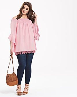 AX Paris Off Shoulder Pinstripe Top