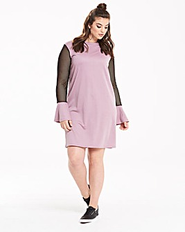 Pink Clove Mesh Sleeve Sweat Dress
