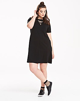 Pink Clove Lace Up Swing T-Shirt Dress