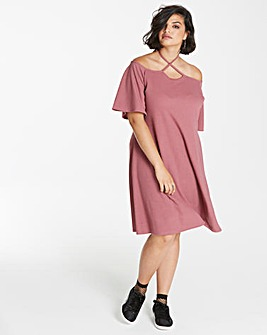 Pink Clove Bardot Tie Neck Swing Dress