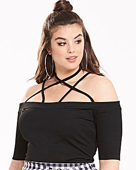 Pink Clove Bardot Criss Cross Top