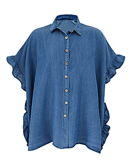 AX Paris Denim Ruffle Shirt
