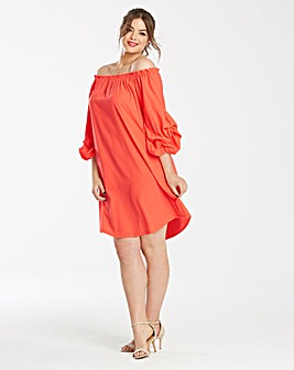 AX Paris Ruched Sleeve Bardot Dress