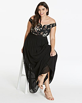 Little Mistress Embroidered Bardot Maxi