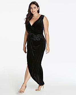 Little Mistress Velour Wrap Maxi Dress